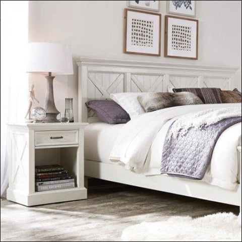 Seaside Lodge King Headboard and Night Stand: -White -King - Homestyles 0095385079352