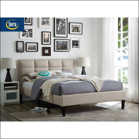 Serta Zola Bed in a Box: Classic upholstered platform bed with tufted headboard and low-profile footboard - Serta 0812189010653