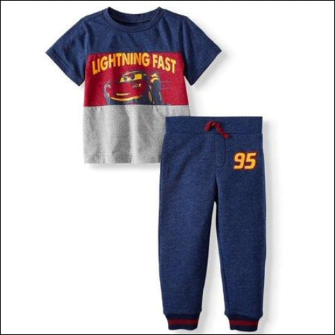Short Sleeve Colorblock Graphic T-shirt & Drawstring Fleece Jogger 2pc Outfit Sets (Toddler Boys) - Disney Pixar Cars 0193058046561