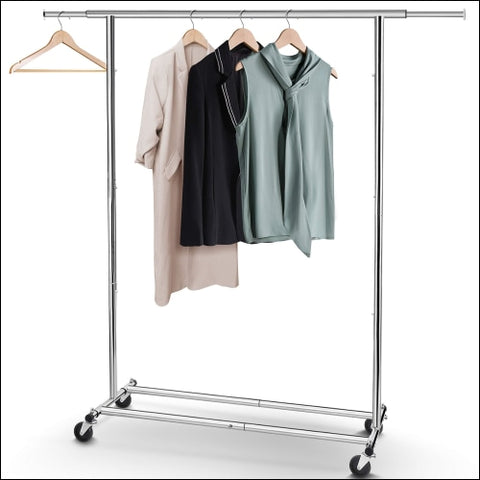 Simple Trending Clothes Garment Rack Heavy Duty Commercial Grade Clothing Rolling Rack on Wheels with Expandable Collapsible Clothing Rack
