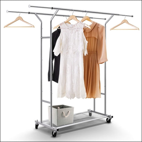 Simple Trending Double Rail Clothes Garment Rack Heavy Duty Commercial Grade Clothing Rolling Rack with Mesh Storage Shelf on Wheels and