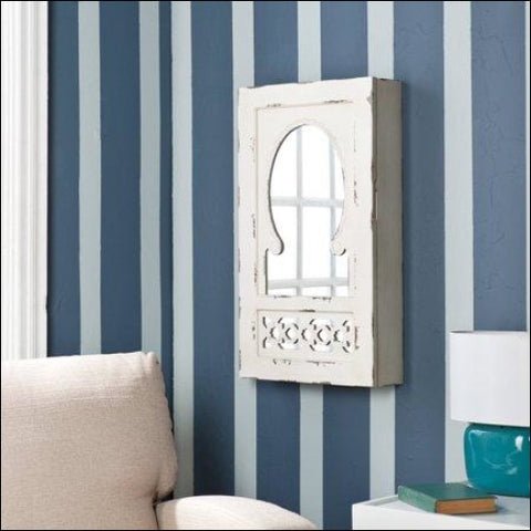 Southern Enterprises Dorian Shabby Chic Wall-Mount Jewelry Armoire - Antique White - Southern Enterprises 0037732836928