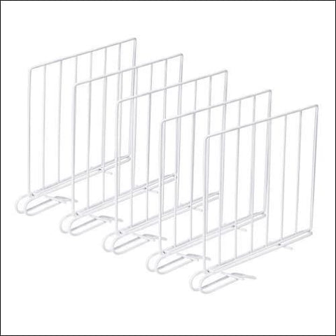 SPACEREST Set of 5 Wood Shelf Divider for Closet Clothing Organizer Separators-New & Improved-Separator-Easy Clip-Steel - SPACEREST