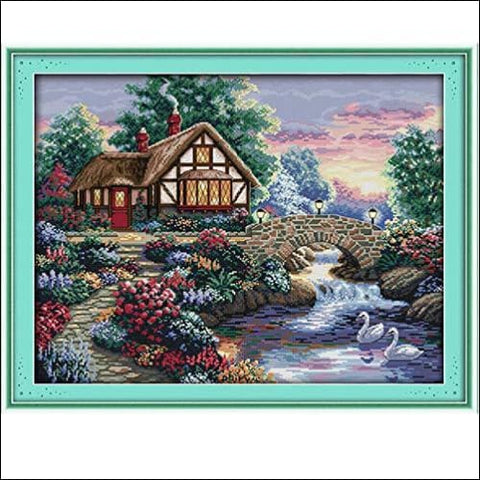 Stamped Cross Stitch Kits - Counted Cross Stitch Kit Cross-Stitching Patterns Beautiful Garden 11CT Pre-Printed Fabric - DIY Art Crafts &