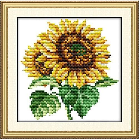 Stamped Cross Stitch Kits Pre-Printed Cross-Stitching Starter Kit for Beginners Adults Embroidery Needlework Kits The Sunflower Pattern for
