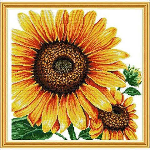 Stamped Cross Stitch Kits Pre-Printed Cross-Stitching Starter Pattern for Beginners Adults Embroidery Kits Needlepoint Kits Sunflower