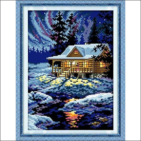 Stamped Cross Stitch Kits Cross-Stitching Accurate Pre-Printed Pattern - The Night of The Arctic 11CT 10.6X 15 Frameless (Pattern Printed On