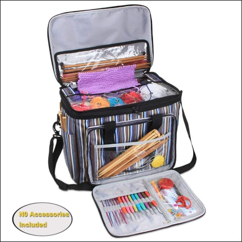 Teamoy Yarn Storage Bag Knitting Tote Bag Organizer for Crochet Hooks and Supplies Portable Knitting Yarn Storage Bag with Cover and Inner