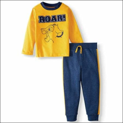 The Lion King Long Sleeve Graphic T-shirt & Taped Fleece Jogger Pants 2pc Outfit Set (Toddler Boys) - The Lion King 0193058045991