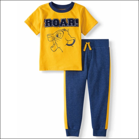 The Lion King Short Sleeve Graphic T-shirt & Taped Fleece Jogger Pants 2pc Outfit Sets (Toddler Boys) - The Lion King 0193058046622