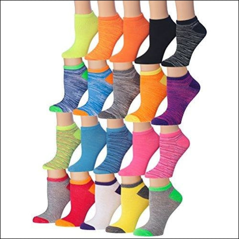 Tipi Toe Womens 20 Pairs Colorful Patterned Low Cut/No Show Socks (sock size9-11) Fits shoe size 6-12 WL07-AB - Tipi Toe 49108164931