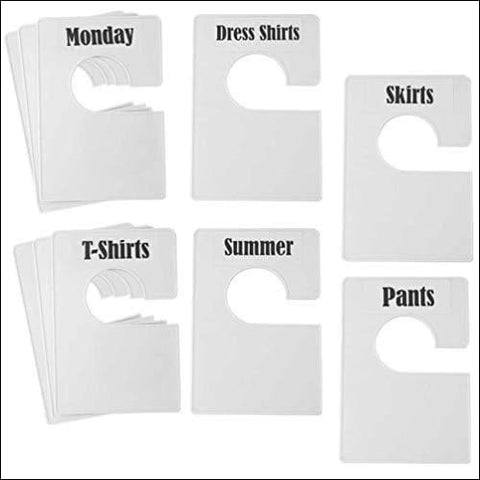 TraGoods 10 Pack White Clothing Rack Size Dividers Plus 60 Labels (1 Inch) and 16 Large Blank Labels Large Rectangular Clothing Closet