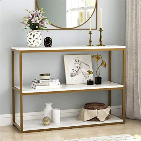 Tribesigns 3-Tier Console Table Sofa Entry Table with Gold Metal Frame for Home Creamy White - TRIBESIGNS WAY TO ORIGIN
