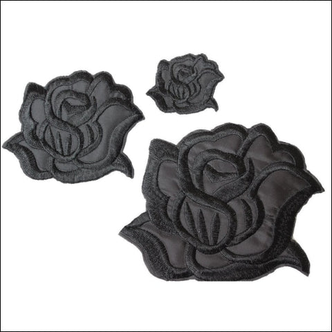 U-Sky Sew Or Iron On Patches - Cool Black Rose Patch For Clothing Jackets - 3Pcs - U-Sky 0707273153678