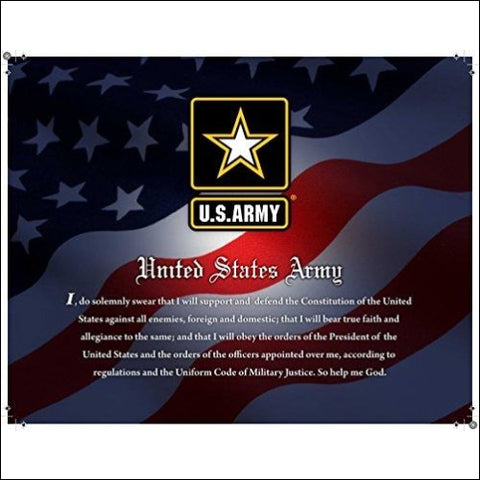 United States Army Officially Licensed Framed Print (14 X 11) Featuring the Army Seal and Oath on a Patriotic Background. Perfect for Home
