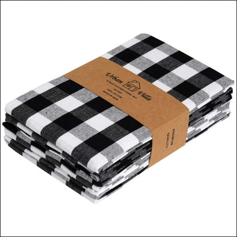 Urban Villa Kitchen Towels Premium Quality 100% Cotton Dish Towels Mitered Corners Ultra Soft (Size: 20X30 Inch) Black/White Highly