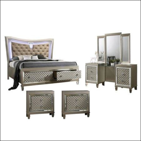 Venetian 4pc Queen Bedroom Set with Vanity & 2 Night Stand - Best Quality Furniture 0687765715457