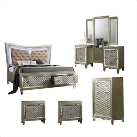 Venetian 5pc Queen Bedroom Set with Vanity & 2 Night Stand & Chest - Best Quality Furniture 0687765715419