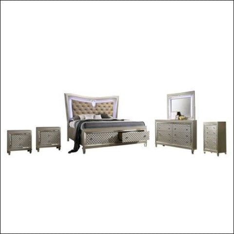 Venetian 6pc Queen Bedroom Set with 2 Night Stand & Chest - Best Quality Furniture 0687765715594
