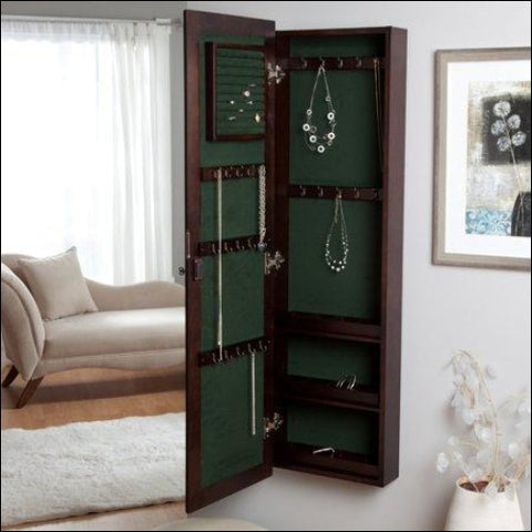 Wall-Mounted Locking Wooden Jewelry Armoire - 14.5W x 50H in. - Finley Home 0661494131818
