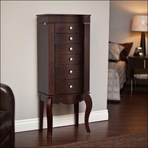 Waterford Jewelry Armoire - Merlot - Finley Home 0661494316796