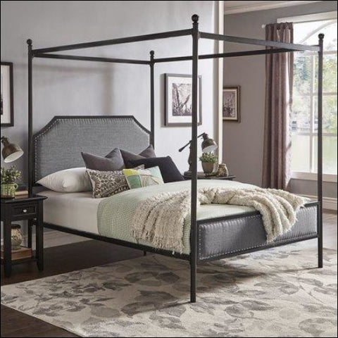 Weston Home Hazleton Black Metal Queen Canopy Bed With Grey Upholstered Headboard and Footboard -Black -Queen - Weston Home 0782359915982