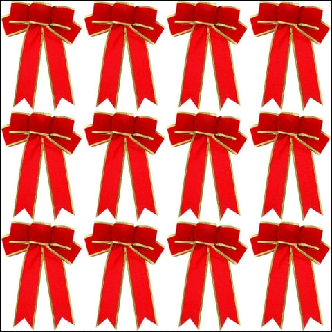 WILLBOND 12 Pieces 9.8 x 7.5 Inch Christmas Tree Bows Christmas Wreath Bows Gold Wired Edge Ribbons for Christmas Tree Home Decoration -