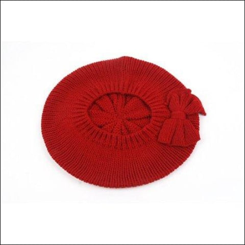 Womens Fashion Knitted Beret Gill Pattern with Bow 162HB - Pop Fashionwear Inc 0702443324827