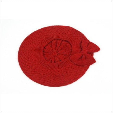 Womens Fashion Knitted Beret Net Style with Bow 182HB - Pop Fashionwear Inc 0702443326098