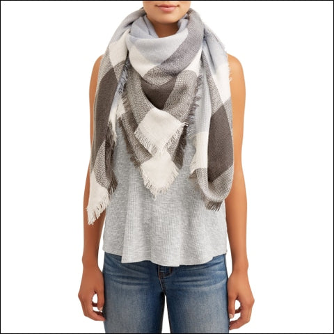 Womens Fashion Square Blanket Scarf - Eliza May Rose by Hat Attack 0040361547967