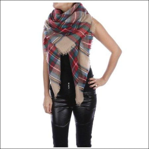 Womens Fashionable Winter Warm Large Tartan Blanket Plaid Scarf Wrap Shawl-red/Green - ONLINE 0695968827570