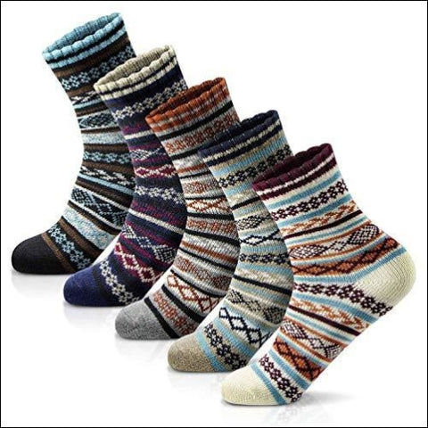 Womens Winter Socks 5 Pairs Thick Wool Soft Warm Casual Socks Vintage Colorful Cute Knit Gift Socks Free Size - MORECOO