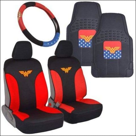 Wonder Woman Car Accessories Pack - Seat Cover Rubber Floor Mats & Steering Wheel Cover for Car SUV Van Truck - BDK 0826942135477