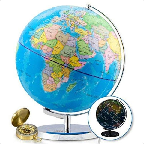 World Globe with Illuminated Constellations - 13 Light Up Globe For Kids & Adults - Interactive Earth Globe Makes Great Educational Toys