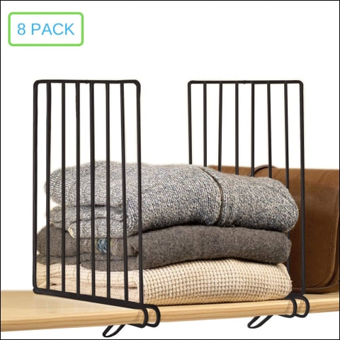 Xabitat Vertical Closet Wood Shelf Divider 2.0 - New and Improved Clothing Organizer with Easy Clamping - Powder Coated Steel Wire Metal