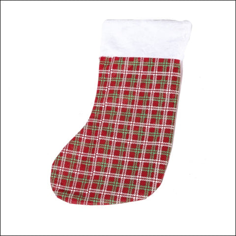 Xena 1 Piece Red Green White Plaid Hanging Christmas Stocking Boy Girls Women Men Holiday Fun Decoration Accessories Large 15 Inch Winter