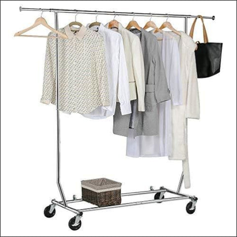 Yaheetech Clothing Garment Rack Heavy Duty Clothes Rack Extendable Commercial Grade Capacity 200lb on Wheels All Metal Chrome - Yaheetech