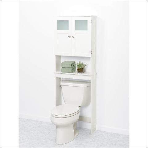 Zenna Home Over the Toilet Bathroom Storage Spacesaver with 2-Door Cabinet and Glass Windows White - Zenna Home 0043197132628