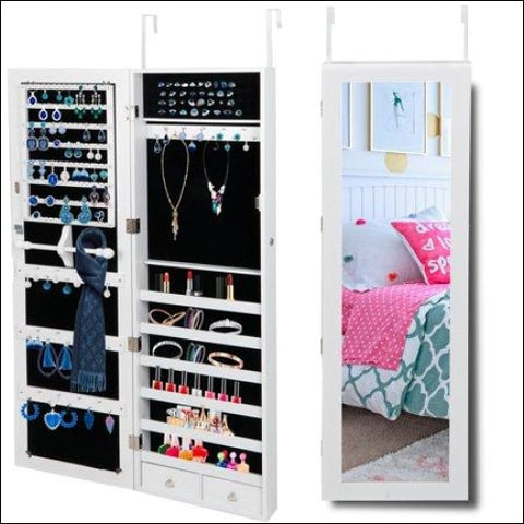 Zeny Jewelry Cabinet Lockable Wall/Door Mounted Jewelry Armoire Organizer w/ Mirror 2 Drawers White - ZENY 0700161262933