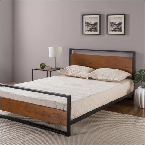 Zinus Suzanne Metal and Wood Platform Bed with Headboard and Footboard Multiple Sizes - Zinus 0841550235142