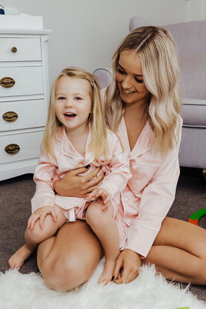 Women's Personalised Pyjamas - Blush (With White) Spring Set