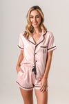 Luxurious Personalised Pyjamas - Blush (With Black) Summer Set