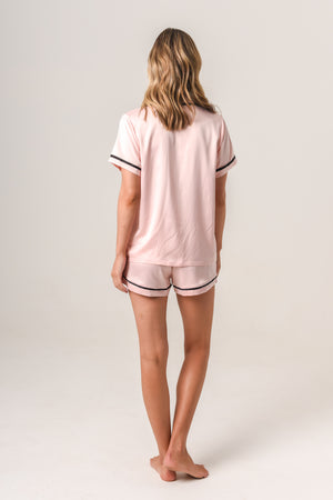 Women's Personalised Pyjamas - Blush (With Black) Summer Set