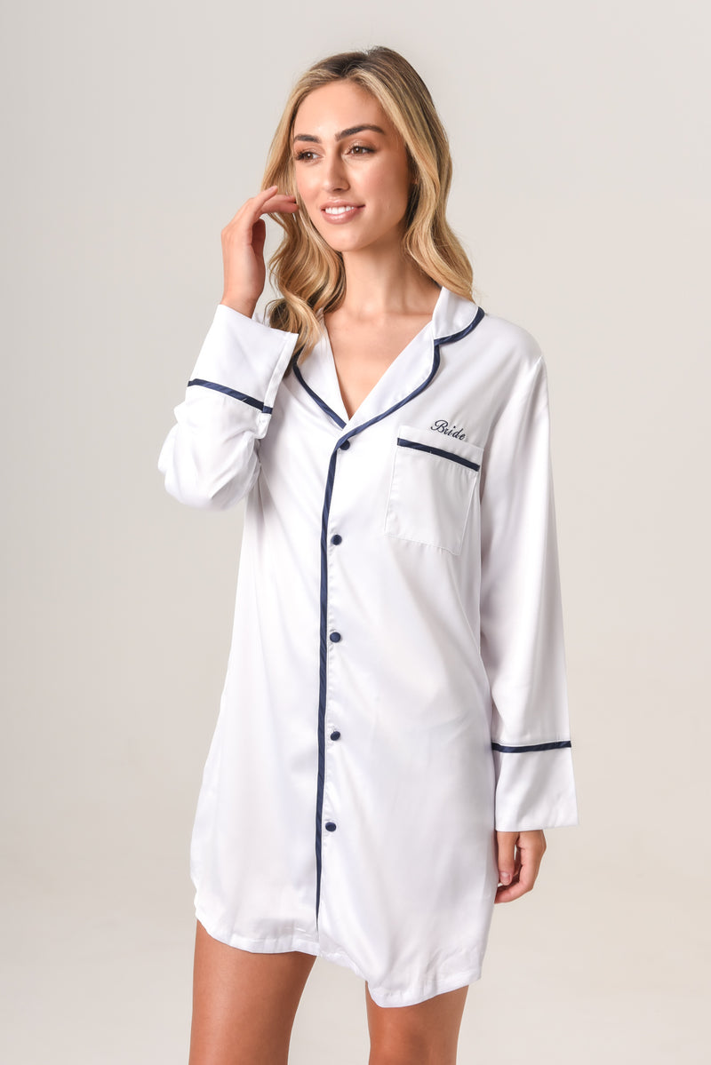 Women's Personalised Pyjamas - White Boyfriend Nightie / Night Shirt