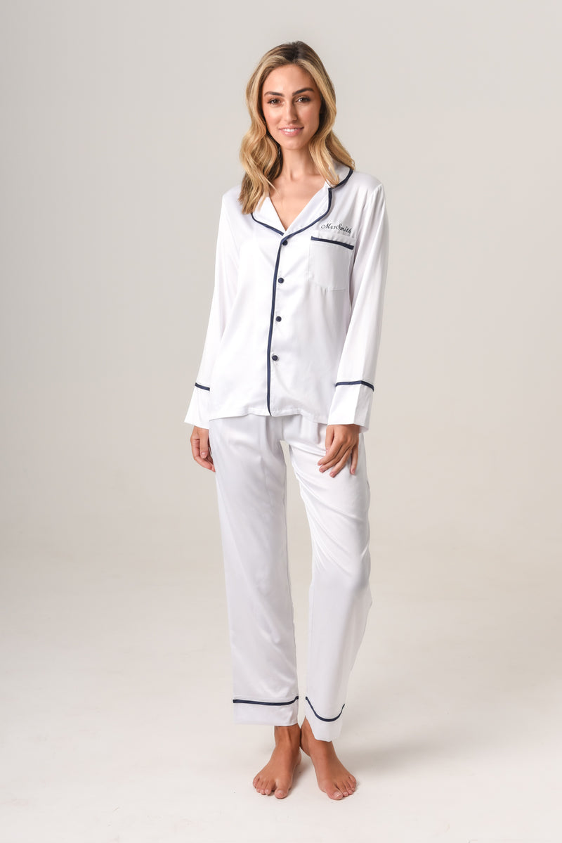 Women's Personalised Pyjamas - White (With Navy) Winter Set