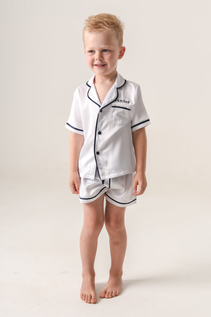 SAMPLE SALE:  Kids White (With Navy Piping) Short-Sleeve Short Set