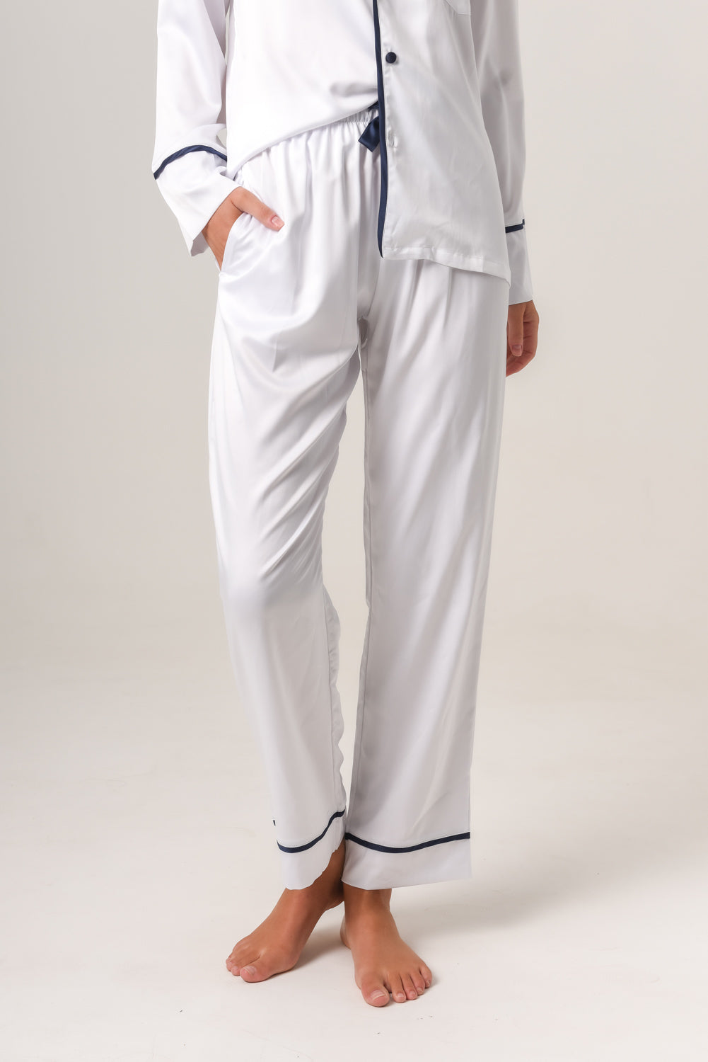 Women's Additional Pants - White With Navy Piping