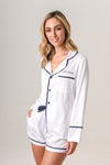 Luxurious Personalised Pyjamas - White (With Navy) Spring Set