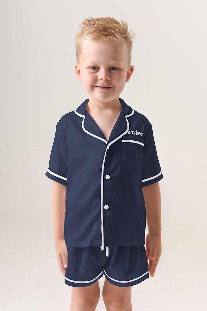 Kids Personalised Pyjamas - Navy Short-Sleeved Short Set