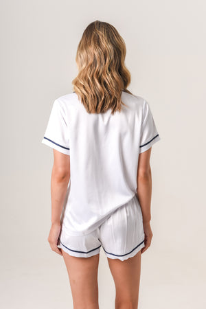 Luxurious Personalised Pyjamas - White (With Navy) Summer Short Set